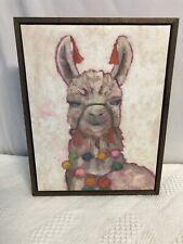 "Llama Canvas Framed Art Picture Home Decor 14"" x 11"""