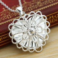 Lady 925 Sterling Silver Party Crown Photo Pendant Jewelry Crystal Necklace Gift