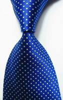 New Blue White Polka Dot Mens Chinese Silk Tie UK Seller Wedding Shirt Suit Son