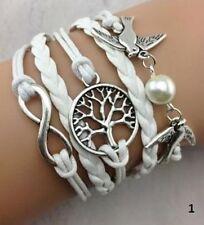 Infinity Bracelet Infinite Leather Braided Tree of Life White Dove Birds Pearl