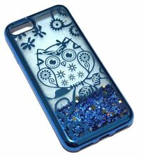For iPhone 7 / 8 - BLUE OWL Flower Glitter Stars Liquid Water Sparkle Case Cover