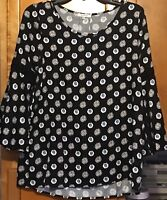Pleione 3/4 Sleeve Tunic Top Shirt Blouse Floral Black Sz XSmall