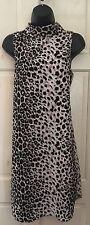 TOPSHOP Estampado de leopardo cuello alto vestido tamaño de Reino Unido 10 EUR 38 US tamaño 6