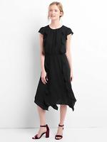 Gap Cap sleeve flutter midi dress, True Black Sz S (1633B10)