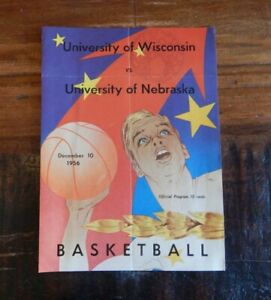 1956 WISCONSIN BADGERS VS NEBRASKA CORNHUSKERS COLLEGE BASKETBALL PROGRAM