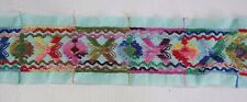 "Vintage Flat Woven Sewing Trim Tape 2 1/2"" wide x 16 yds Aqua w Embroid Flowers"