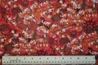 1/2 yard cotton quilt fabric Wildflowers Rust Coral Root flowers floral meadow