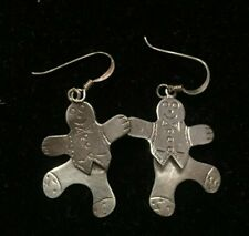 Sterling Silver Gingerbread Man on Earring Wires moveable dangling