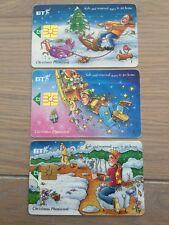 BT Christmas Phone card, set of 3, £2 Value, Used