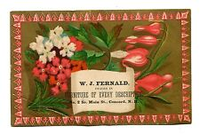 Victorian Trade Card WJ FERNALD FURNITURE DEALER Concord NH Main St