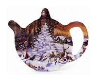 Christmas Design Tea Bag Holder Tidy Spoon Rest Accessory -Winter Scene