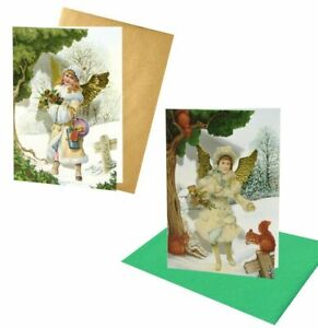 18 Victorian Angel Christmas Cards with Fold-back Gold Embossed Wings (EG)