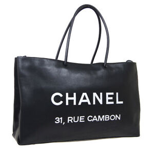 CHANEL 31,RUE CAMBON Hand Tote Bag 12785928 Purse Black White Leather 36923