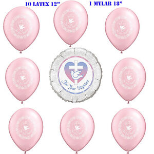 """Baptism Mylar Balloon 18"""" """" For Your Baptism"""" and 10 Latex Balloons 12"""""""