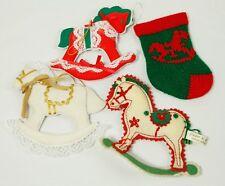 Vintage Kurt S Adler White Fabric Rocking Horse Stocking Lot Christmas Ornament
