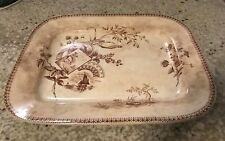 "Antique ""TENNYSON"" BROWN TRANSFERWARE Aesthetic Movement PLATTER 14'' x 11.5''"