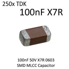 250x 100nF TDK SMD Capacitor 0603 50V X7R On Tape