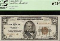 UNC 1929 $50 DOLLAR KANSAS CITY FR BANK NOTE PAPER MONEY 276K PRINT PCGS NEW PPQ