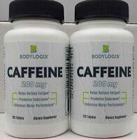 BODYLOGIX CAFFEINE TABLETS x 2 BOTTLES*200mg*100 TABLETS EACH BOTTLE*FREE SHIP