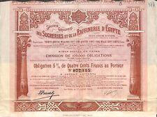 """"""" SUCRERIE & RAFFINERIE EGYPTE """" SCRIPOPHILIE OBLIGATION LE CAIRE CAIRO 1906"""