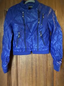Blue Faux Leather Jacket Size 10