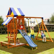 New Backyard Swing Set Cedar Wooden Outdoor Playground Playset Kids Playhouse