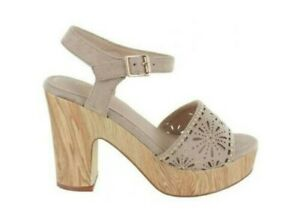 MENBUR Umito 020491 Sandale Beige Frau Absatz Mit Plateau Effekt Holz
