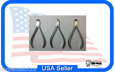 Set x 3 Ortho Plier HARD WIRE CUTTERS 12cm Flat End T/C N21150353 USA ORTHOPLIER