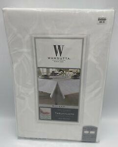 "White 70"" X 144"" Oval & Oblong Tablecloth Wamsutta Milano 100% Cotton New"