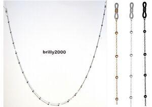 Brillenkette mit Kugeln nickelfrei aus Metall - elastische Schlaufen - 3 Farben