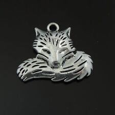 39509 10Pcs Antique Silver Alloy Cute Sleeping Fox Charms Pendant Size 38*25*5mm