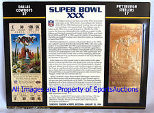 DALLAS COWBOYS vs STEELERS Willabee & Ward 22KT GOLD SUPER BOWL 30 TICKET SB XXX