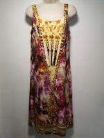 Feraud Paris Tie Dye Multicoloured Sleeveless Shift Dress - Size 10 (022g)