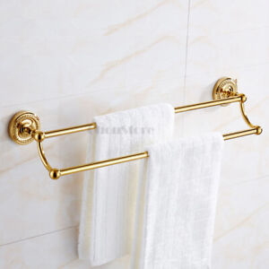 Luxury Gold Bathroom Double Bar Bath Towel Rail Holder Wall Shower Clothes Rack