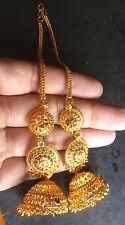 22K Gold Plated Indian 3 Steps Jhumka with Long Chain Earrings Wedding Jewlery..