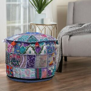 16 Inch Indian Ottoman Pouffe Cover Grey Furniture Patchwork Embroidered Round