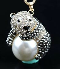 Betsey Johnson Necklace Panda Black White Panda WHO Bling Crystals Adorable