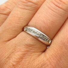 925 Sterling Silver Real Diamond Classic Band Ring Size 9.5