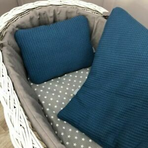 Small Navy Blue Baby Bedding Set 71x80cm - for space saver cot, mini cot, crib