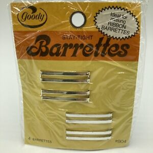 "Vintage 1975 Goody Stay Tight Barrettes Metal 1.5"" Pkg 4 NOS"