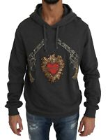 NEW $3800 DOLCE & GABBANA Sweater Gray Hooded Red Crystal Heart Gun s. IT48 / M