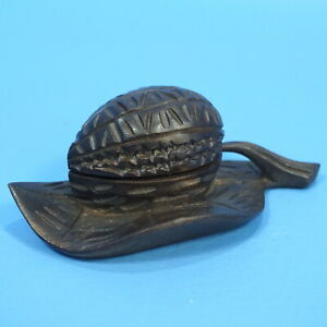 """5"""" Antique Swiss INKWELL PEN TRAY THIMBLE HOLDER Black Forest Carved Brienz"""