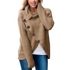 Women's Long Sleeve Knitwear Jumper Cardigan Turtle Neck Coat Jacket Sweater