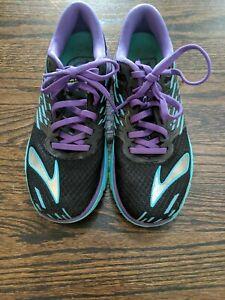 Brooks Womens Sz 7.5 Pure Cadence 5 Running Shoe Black Purple Teal Lace Up