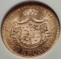 1881 SWEDEN King OSCAR II Antique GOLD 20 Kronor SWEDISH Coin NGC MS 64 i70148