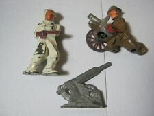 Old Military Toy Lead Soldier & Cannons Lot of 3     T*