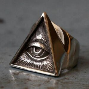 Illuminati Triangle Masonic Ring Stainless Steel Silver Color Vintage Biker Men