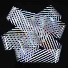 HOLOGRAPHIC SILVER STRIPE LINE Nail Art Foil Transfer Glitter Stickers 3D Nai...