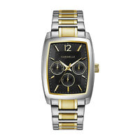Caravelle Men's Quartz Black Dial Silver and Gold-Tone 34mm Watch 45C113