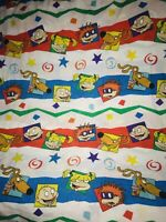 RETRO RUGRATS Nickelodeon Twin Bed FLAT Sheet 1991 Angelica Tommy Spike FABRIC